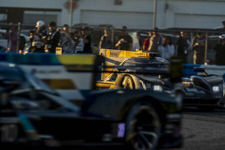 The Mustang Sampling Racing JDC-Miller Motorsports Cadillac DPI car race for the Rolex 24 At Daytona at Daytona International Speedway in Daytona Beach, Florida.