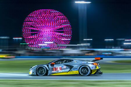 The Corvette Racing Corvette C8.R car race through the night during the Rolex 24 At Daytona at Daytona International Speedway in Daytona Beach, Florida. Publikacyjne
