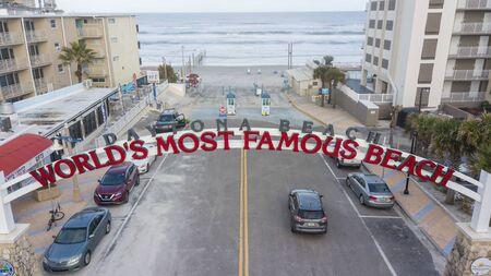 January 24, 2020 - Daytona Beach, Florida, USA: Aerial views of the city of Daytona Beach, Florida, the Worlds Greatest Beach Zdjęcie Seryjne - 139322495