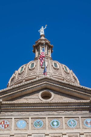 The Texas State Capitol Building In the city of Austin, Texas and the seat of Travis County.  It is the 11th-most populous city in the United States. Stock Photo