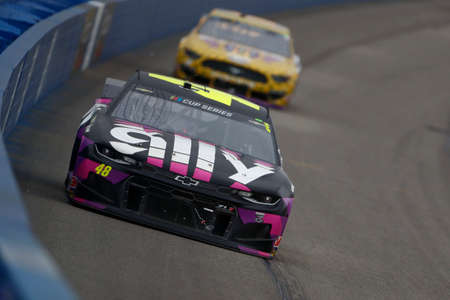 Jimmie Johnson (48) races for the Auto Club 400 at Auto Club Speedway in Fontana, California.