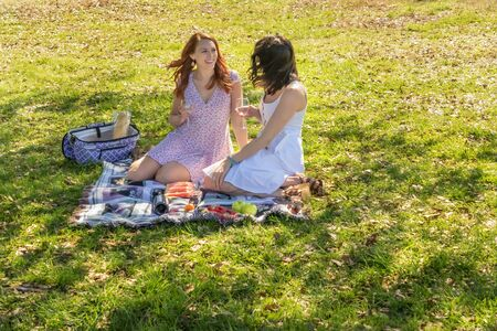Two gorgeous models enjoying each others company on a fall day with a picnic