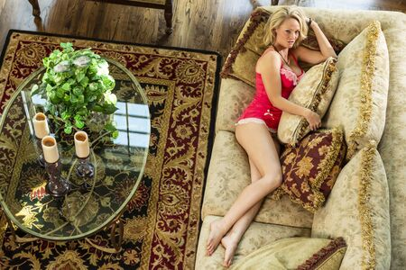 A gorgeous blonde model poses in lingerie in a home environment