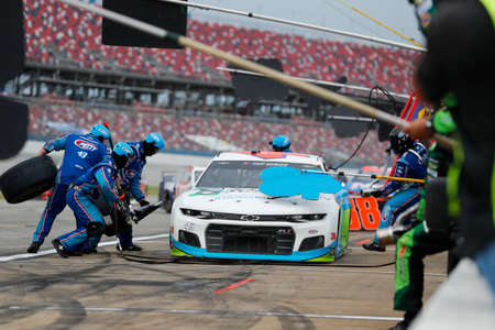 Darrell Wallace, Jr (43) makes a pit stop for the GEICO 500 at Talladega Superspeedway in Lincoln, Alabama.