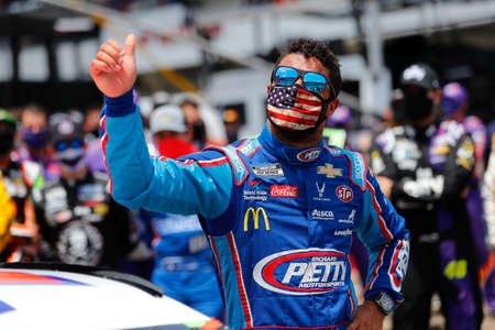 June 22, 2020 - Talldega, Alabama, USA: #43 driver, Darrell Wallace Jr, is overcome by emotion before the Geico 500 at Talladega Superspeedway in Talldega, Alabama.  The day before, a noose was found in his garage, both NASCAR and the FBI are investigatin