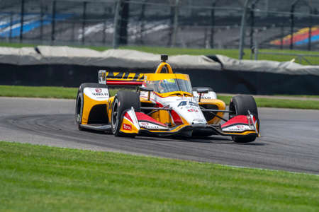 SPENCER PIGOT (45) of the United States practices for the GMR Grand Prix at the Indianapolis Motor Speedway in Indianapolis, Indiana.