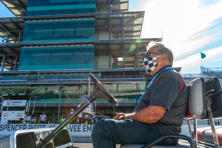 Legend, Mario Andretti, talks to drivers before Carb Day for the Indianapolis 500 in Indianapolis, Indiana. Editorial