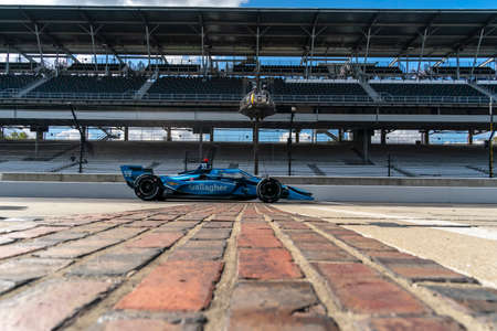 MAX CHILTON (59) of Reigate, England crosses the yard of bricks as he practices for the Harvest GP at the Indianapolis Motor Speedway in Indianapolis, Indiana.