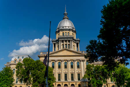 August 24, 2020 - Springfield, Illinois, USA: The Illinois State Capitol, located in Springfield, Illinois. The current building is the sixth to serve as the capitol building since Illinois was admitted to the United States in 1818.