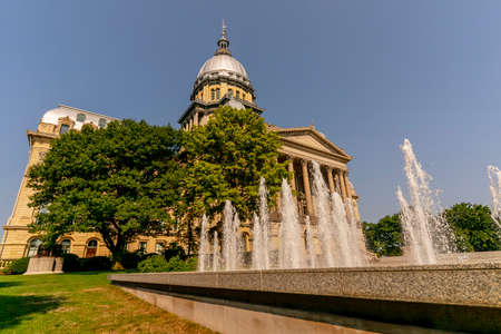 August 25, 2020 - Springfield, Illinois, USA: The Illinois State Capitol, located in Springfield, Illinois. The current building is the sixth to serve as the capitol building since Illinois was admitted to the United States in 1818.