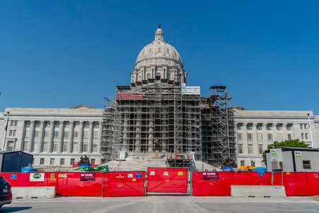 August 25, 2020 - Jefferson City, Missouri, USA: The Missouri State Capitol located in Jefferson City and it is the third capitol in the city after the other two were demolished when they were damaged in fires. Editoriali