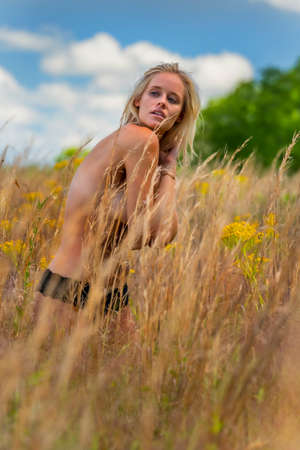 A gorgeous blonde model poses implied nude in a field outdoors Zdjęcie Seryjne