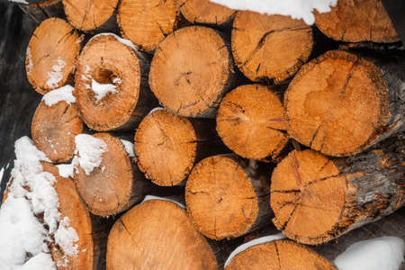 Rural life. Close up of pile of chop wood for fireplace and stove.