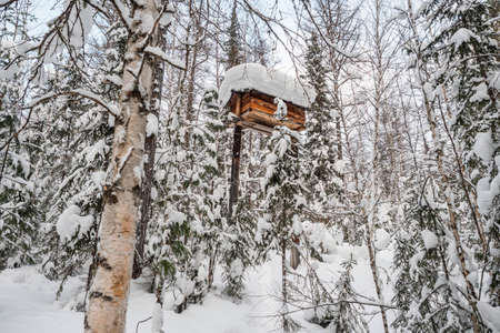 A place to store food from wild animals. Hunter's grocery warehouse in the winter forest. Archivio Fotografico