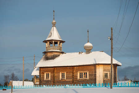 Old wooden Orthodox Church in a Russian village in Siberia.