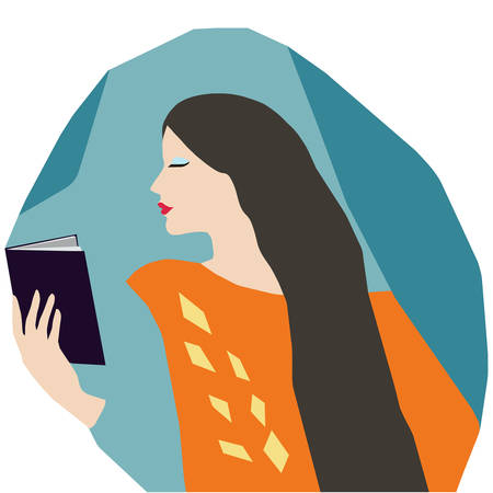 Close-up of cute woman reading a book at home. Flat style vector design with colorful background Иллюстрация