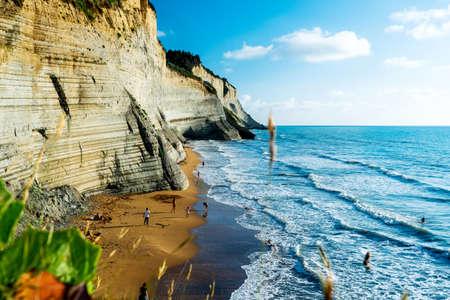 Headland of Greece. Landscape of Mediterranean sea on the beach in Corfu