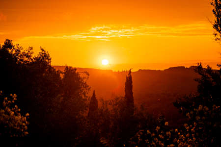 Scenic landscape. Picturesque sunset in the mountains of Greece Standard-Bild