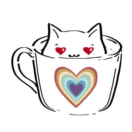 The character of cute cat sitting in the coffee cup. The kitty sitting in the tea mug. Adorable kitten in flat vector style. Illusztráció