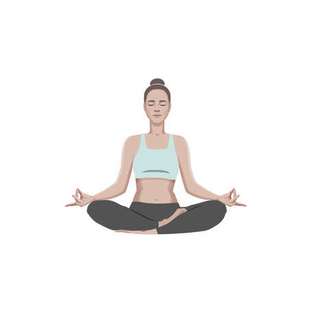 Beautiful young woman practicing yoga and meditating in lotus pose. Vector illustration isolated on white background