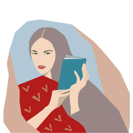 Close-up of cute woman reading a book at home. Flat style vector design with colorful background Illusztráció