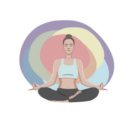Attractive young sporty woman practicing yoga and meditating in lotus pose. Vector illustration isolated on colored background Иллюстрация
