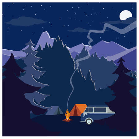 Outdoor activities concept. Two tents, campfire, car. Family camping among pine forest and rocky mountains. Vector illustration in flat design.
