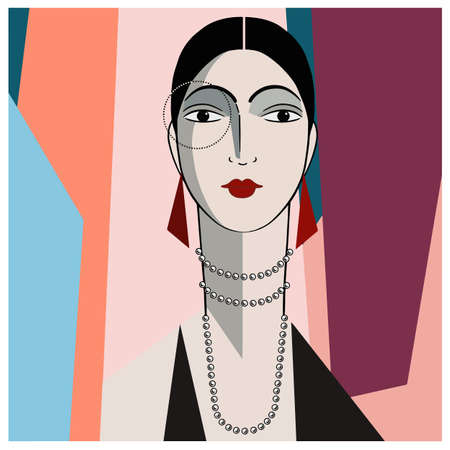 Portrait of stylish spanish woman in black dress on colored background. Art deco vector illustration. Иллюстрация