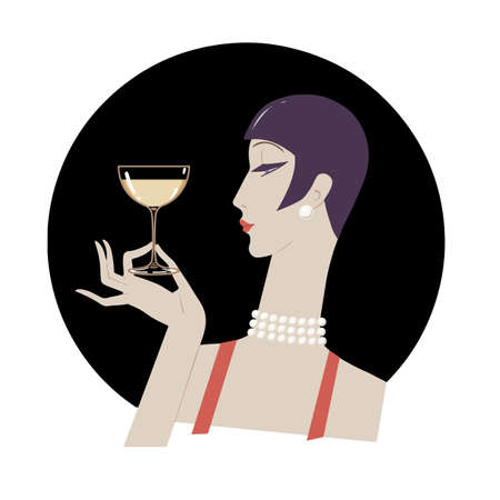 Portrait of retro elegant woman of twenties. Flapper girl 20s style. Vector illustration. Illusztráció