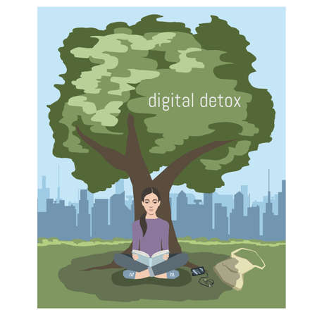 An young beautiful woman is sitting in a lotus position under a tree in a city park and reading a book. Digital detox concept. Vector illustration. Иллюстрация