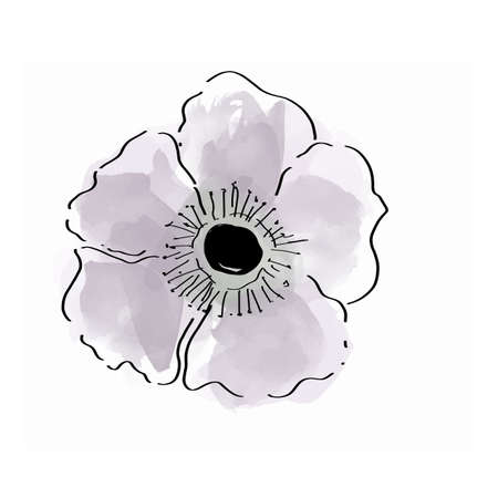 Vector floral bouquet design. Watercolor garden light purple flower.