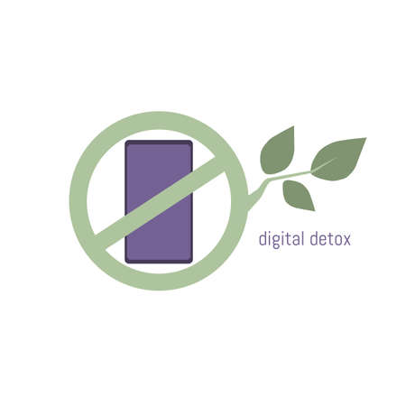 Digital detox icon. Phone in a crossed out circle of green tree branch. Vector illustration in flat design.