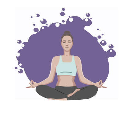 An young woman practicing yoga, sitting in a lotus position and meditating against a purple sphere with bubbles. Vector illustration.