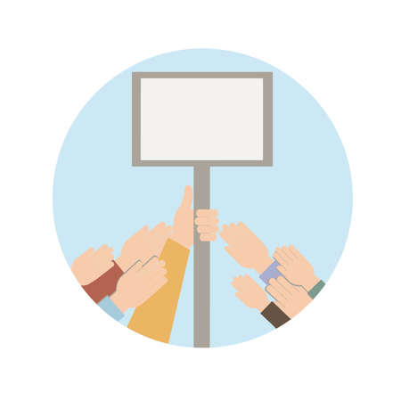 Hands raised up holding a blank placard with copy space. Vector illustration in flat style.