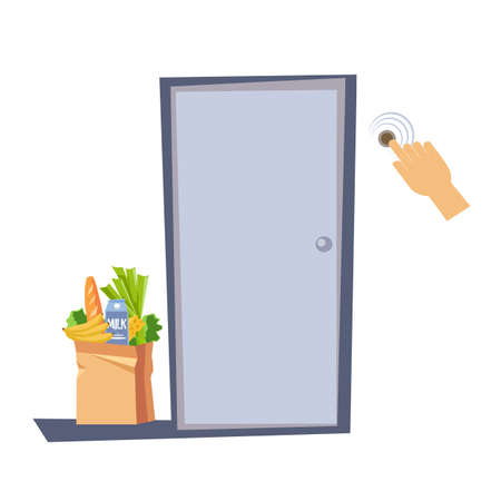 Contactless delivery of food during the quarantine. Bag of groceries in front of the house door on the porch. Male hand ringing the doorbell. Vector illustration in flat style on isolated background.