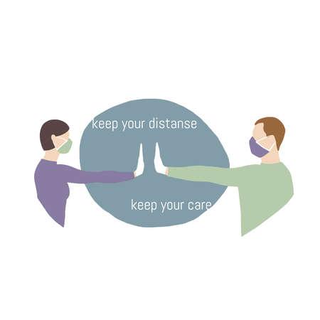 Social distance between people to avoid spreading coronavirus. Flat design vector.