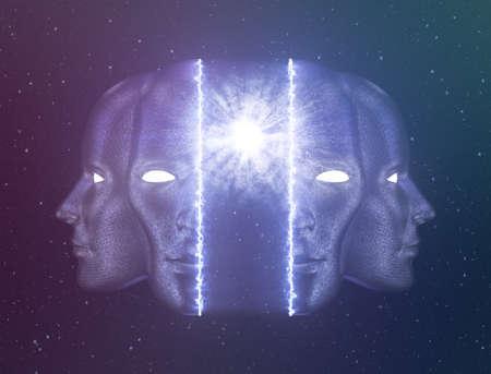 Selbstverwirklichung oder Erwachen jenseits des Ego-Konzepts ist ein großartiges Hintergrundbild für alle spirituellen Zwecke. Mögen; Meditation Visuell oder Tapisserie Spirituelle Dekoration Spiritualismus Related Nachrichten Psychedelisches Design, Tapisserie, Albumcover oder Flyer Standard-Bild