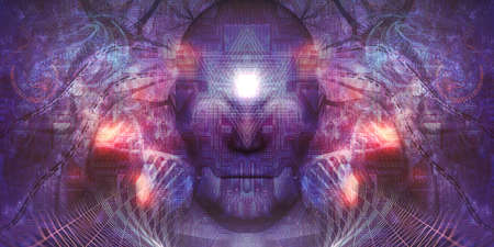 HiTech Psychedelic Art Concept is great background image for any spiritual purposes. Lika; Meditation Visual or Tapestry Spiritual Decoration Related News Psychedelic Design, Tapestry, Album Cover or Flyer Фото со стока