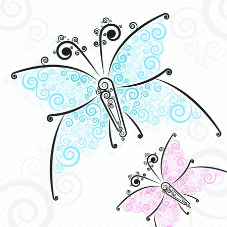 Butterflies with flower motives on wings, Beautiful background Vector
