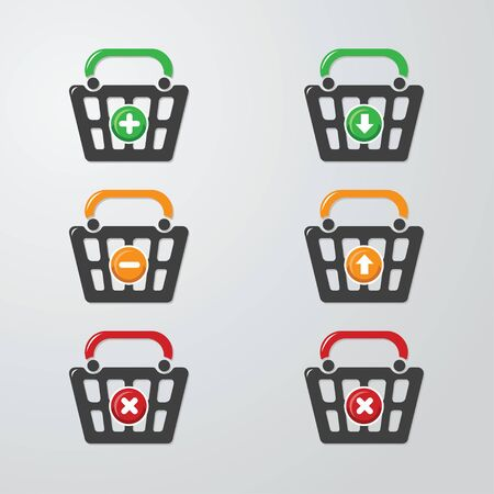checkout button: Shopping for the purchase of goods in the form of buttons Illustration