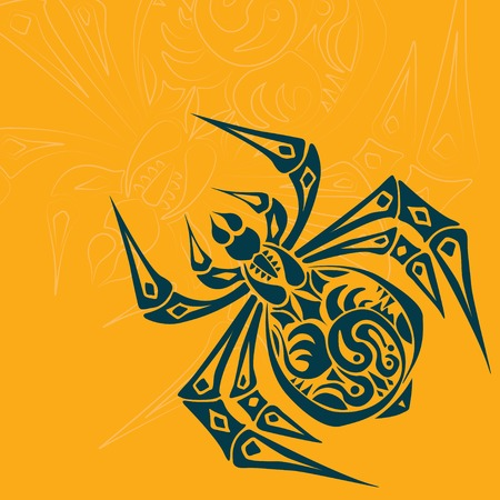 Spider Tribal Tattoo on colored background Vector