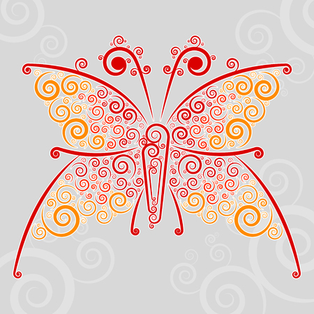 Abstract techno flourishes of butterfly on a gray background