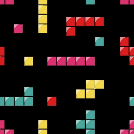 seamless pattern with white, red, orange, yellow and green tetris elements on the background Иллюстрация