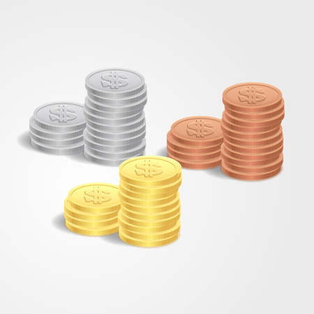 Vector illustration stacks of golden coins isolated on a white background. Иллюстрация