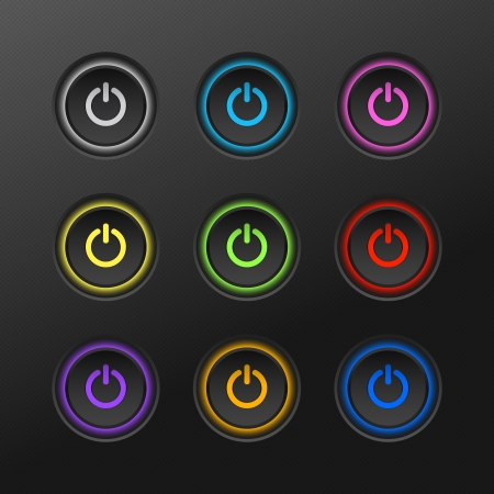 On  off button with bright multicolored lights Vector