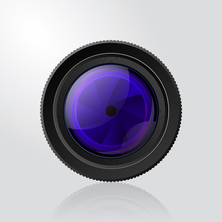 Camera photo lens with shutter in grey background