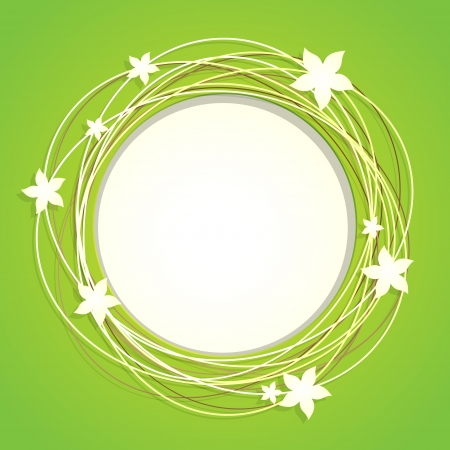 Floral Round Frame With Place For Text Иллюстрация
