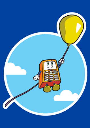 Character in the form of a mobile phone soars in a sky on air balloon