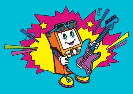 Personaje en la forma de un teléfono móvil toca la guitarra