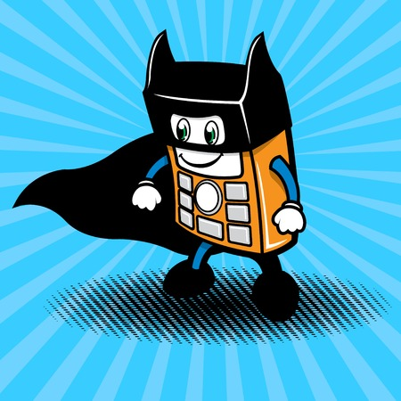 Character illustration of mobile phone in the form of a super hero